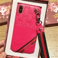 Gucci Flower Strap Flip Leather Cases Ribbon Back Holster Cover For iPhone X - Rose
