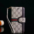 Gucci Lattice Strap Flip Leather Cases Button Book Genuine Holster Cover For iPhone X - Gray