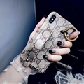 High Quality Shell Gucci Flower Leather Back Covers Holster Cases For iPhone X - Gray