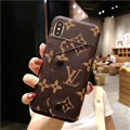 High Quality Shell LV Flower Leather Back Covers Button Cases For iPhone X - Brown