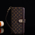 LV Flower Strap Flip Leather Cases Button Book Genuine Holster Shell For iPhone X - Brown