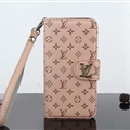 LV Flower Strap Flip Leather Cases Litchi Grain Holster Cover For iPhone X - Beige