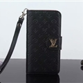 LV Flower Strap Flip Leather Cases Litchi Grain Holster Cover For iPhone X - Black