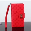 LV Flower Strap Flip Leather Cases Litchi Grain Holster Cover For iPhone X - Red