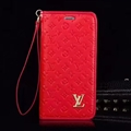 LV Flower Strap Flip Leather Cases Shells Grain Holster Cover For iPhone X - Red