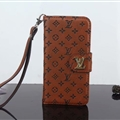 LV Flower Strap Flip Leather Skin Litchi Grain Holster Cover For iPhone X - Brown