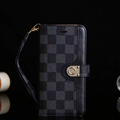 LV Lattice Strap Flip Leather Cases Button Book Genuine Holster Cover For iPhone X - Black
