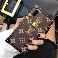 Lightning Stars Style LV Flower Pattern Metal Leather Cases For iPhone X Cover - Brown