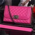 Long Chain Chanel Handbag Genuine Leather Case Book Flip Holster Cover For iPhone X - Rose