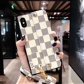 New Shell LV Plaid Leather Back Covers Holster Cases For iPhone X - White