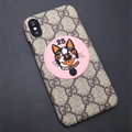 Personalized Gucci Dog Leather Pattern Cases Hard Back Skin for iPhone X - Pink