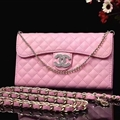 Pretty Chain Chanel folder leather Case Book Flip Holster Cover for iPhone X - Pink