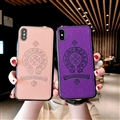Retro Skin Casing Chrome Hearts Leather Back Covers Holster Cases For iPhone X - Bean Paste