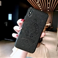 Retro Skin Casing Chrome Hearts Leather Back Covers Holster Cases For iPhone X - Black