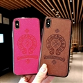 Retro Skin Casing Chrome Hearts Leather Back Covers Holster Cases For iPhone X - Coffee