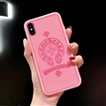 Retro Skin Casing Chrome Hearts Leather Back Covers Holster Cases For iPhone X - Pink