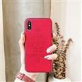 Retro Skin Casing Chrome Hearts Leather Back Covers Holster Cases For iPhone X - Red