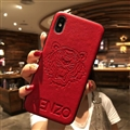 Retro Skin Casing Kenzo Leather Back Covers Holster Cases For iPhone X - Red