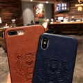 Retro Skin Casing Kenzo Leather Back Covers Holster Cases For iPhone X - Yellow