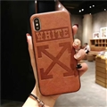 Retro Skin Casing OFF-WHITE Leather Back Covers Holster Cases For iPhone X - Brown