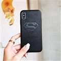 Retro Skin Casing Superman Leather Back Covers Holster Cases For iPhone X - Black