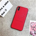 Retro Skin Casing Superman Leather Back Covers Holster Cases For iPhone X - Red