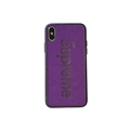 Retro Skin Casing Supreme Leather Back Covers Holster Cases For iPhone X - Purple