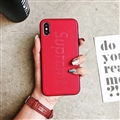 Retro Skin Casing Supreme Leather Back Covers Holster Cases For iPhone X - Red