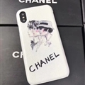 Simple Shell Chanel Print Leather Cases for iPhone X Head Hard Back Covers - White