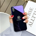 Unique Chanel Blue Light Mirror Surface Silicone Glass Covers Protective Back Cases For iPhone X - Blue