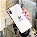Unique Chanel Blue Light Mirror Surface Silicone Glass Covers Protective Back Cases For iPhone X - White