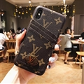 Unique Flower Casing LV Leather Back Covers Holster Cases For iPhone X - Brown