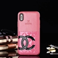 Unique Flower Chanel Genuine Leather Back Covers Holster Cases For iPhone X - Pink