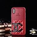 Unique Flower Chanel Genuine Leather Back Covers Holster Cases For iPhone X - Red Black