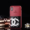 Unique Flower Chanel Genuine Leather Back Covers Holster Cases For iPhone X - Red White
