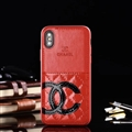 Unique Flower Chanel Genuine Leather Back Covers Holster Cases For iPhone X - Red