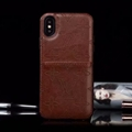 Unique Flower LV Genuine Leather Back Covers Holster Cases For iPhone X - Brown