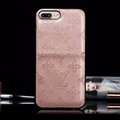 Unique Flower LV Genuine Leather Back Covers Holster Cases For iPhone X - Pink
