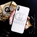 Unique Gucci Blue Light Mirror Surface Silicone Glass Covers Protective Back Cases For iPhone X - White
