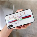 Unique Gucci Marble Aurora Laser Skin Glass Covers Protective Back Cases For iPhone X - White
