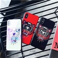 Unique Kenzo Blue Light Mirror Surface Silicone Glass Covers Protective Back Shell For iPhone X - Red