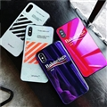 Unique Off-White Blue Light Mirror Surface Silicone Glass Covers Letter Back Shell For iPhone X - Black