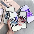 Unique Off-White Blue Light Mirror Surface Silicone Glass Covers Protective Back Shell For iPhone X - Blue