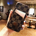 Unique Plaid Casing LV Leather Back Covers Holster Cases For iPhone X - Brown