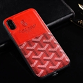 Unique Shell Goyard Genuine Leather Back Covers Holster Cases For iPhone X - Red