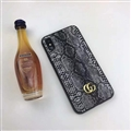 Unique Snake Casing Gucci Leather Back Covers Holster Cases For iPhone X - Black