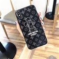 Unique Sun Flower Casing LV Leather Back Covers Holster Cases For iPhone X - Black