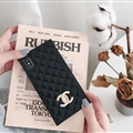 Classic Chanel Faux Leather Lanyards Cases Shell For iPhone XR Silicone Covers - Black