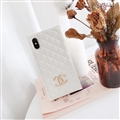 Classic Chanel Faux Leather Lanyards Cases Shell For iPhone XR Silicone Covers - White