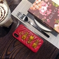Classic Cicada Gucci Leather Hanging Rope Covers Metal Cases For iPhone XR - Red